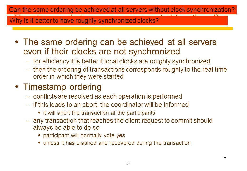 Timestamp ordering concurrency control (continued)