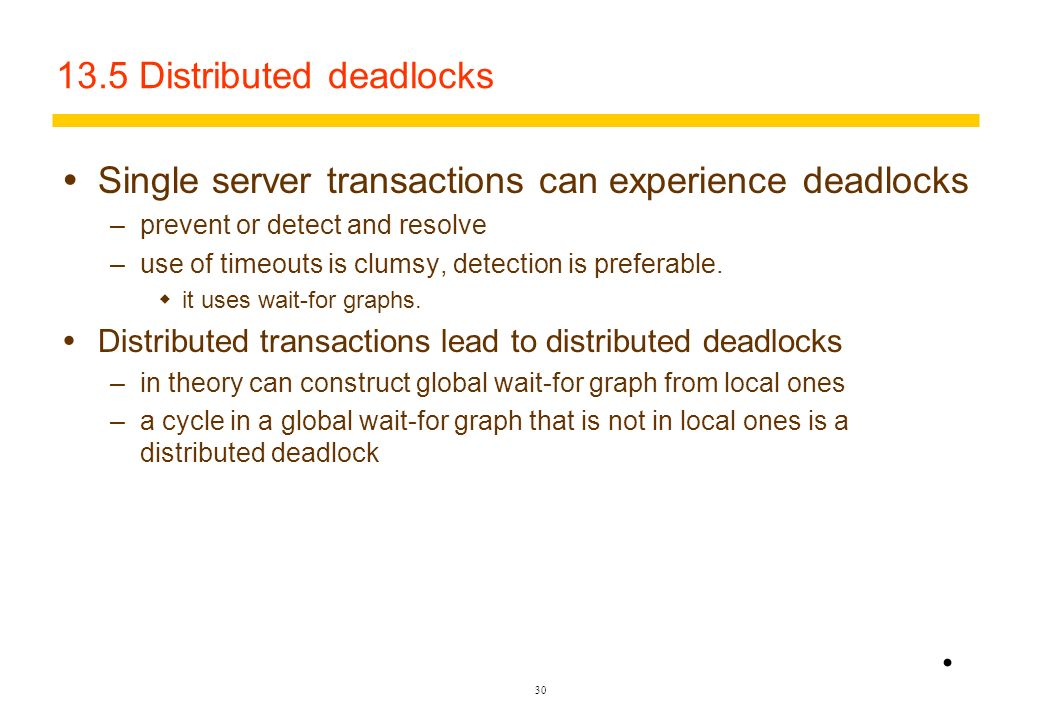 13.5 Distributed deadlocks