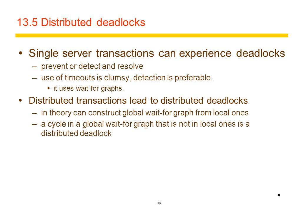 13.5 Distributed deadlocks