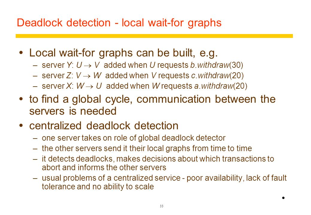 Deadlock detection - local wait-for graphs