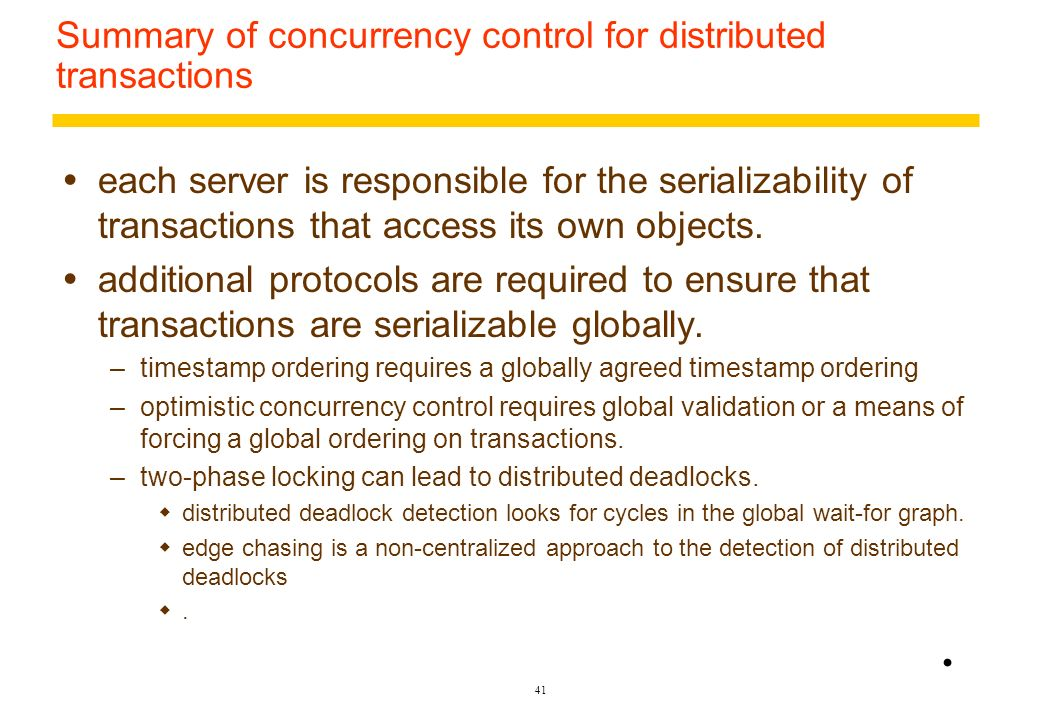 Summary of concurrency control for distributed transactions
