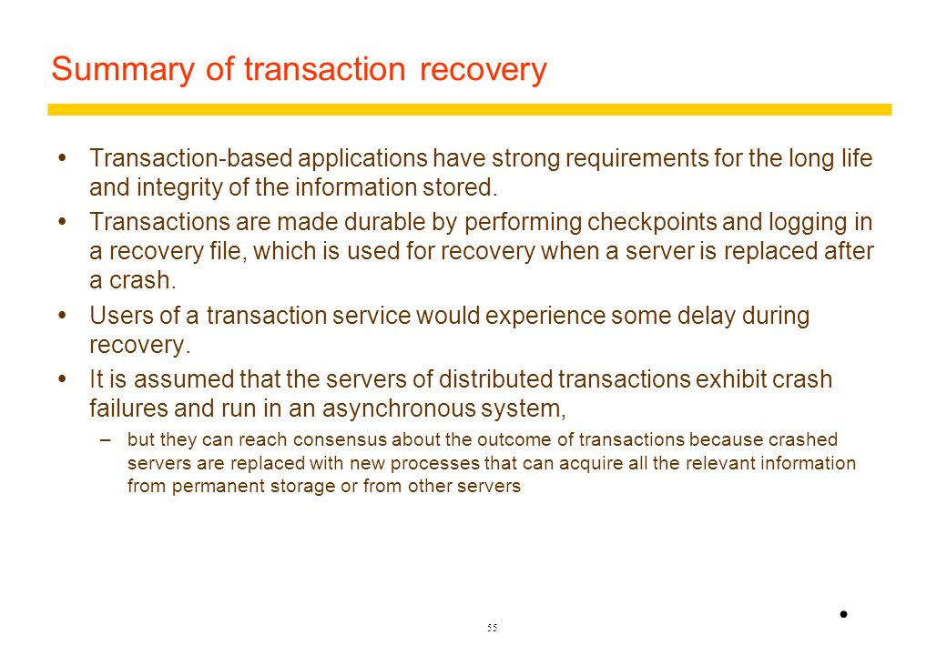 Summary of transaction recovery