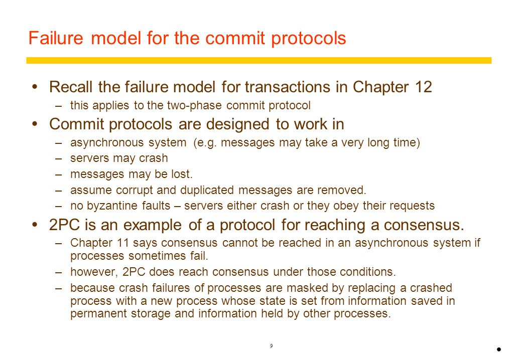 Failure model for the commit protocols