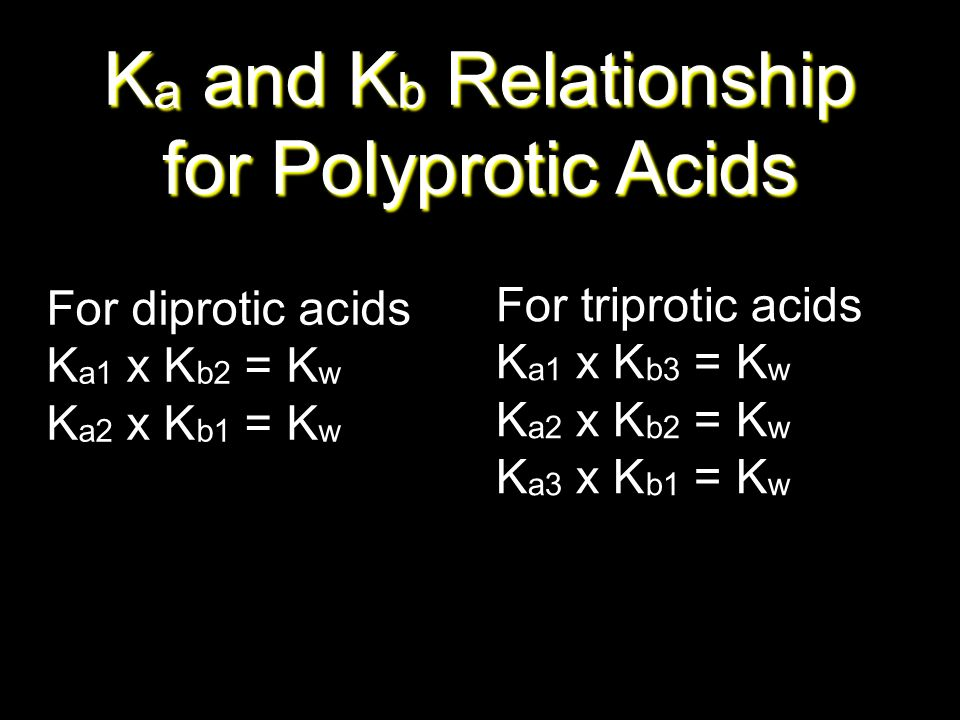 Ka and Kb Relationship for Polyprotic Acids