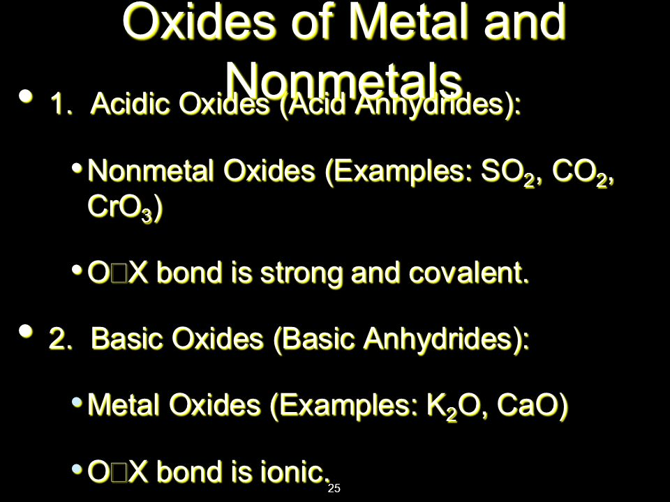 Oxides of Metal and Nonmetals