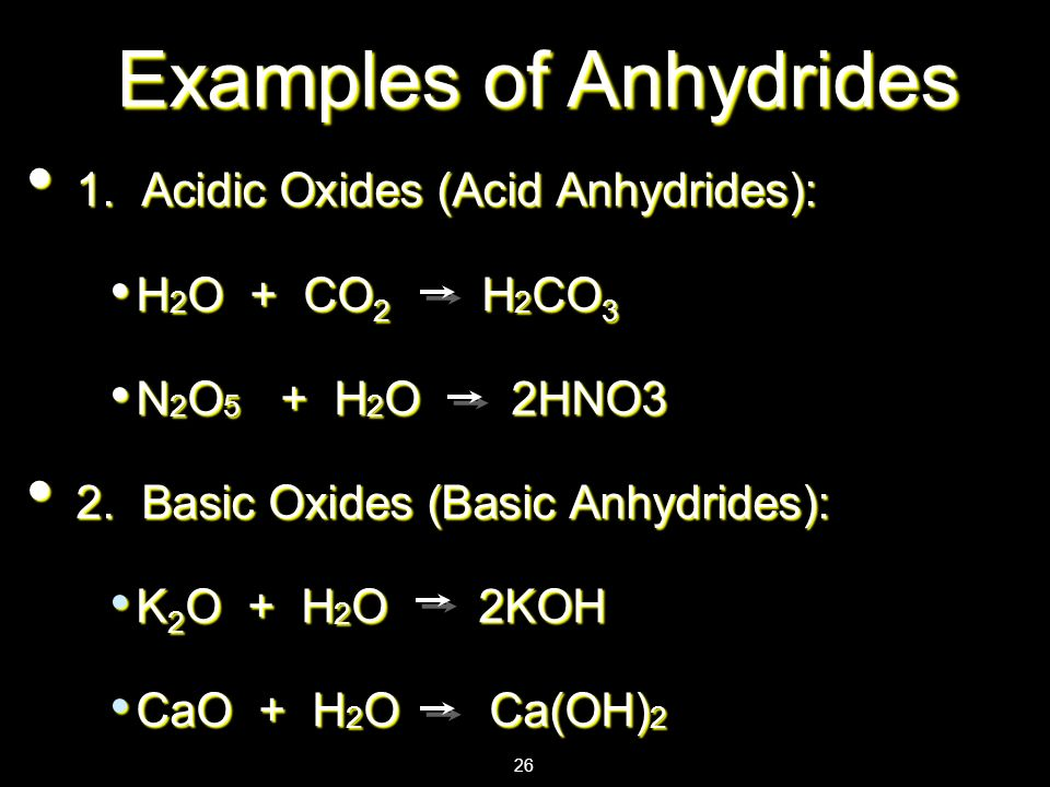 Examples of Anhydrides