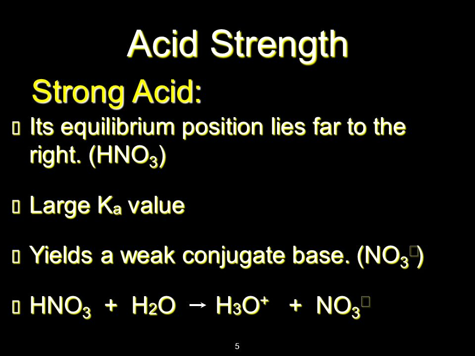 Acid Strength Strong Acid:
