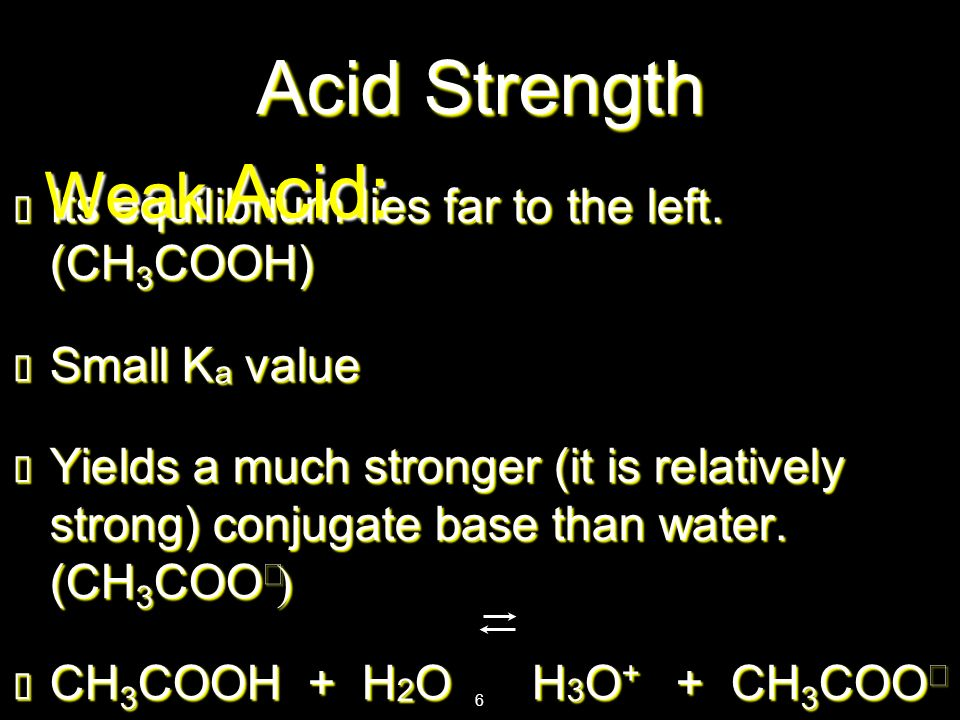 Acid Strength Weak Acid: