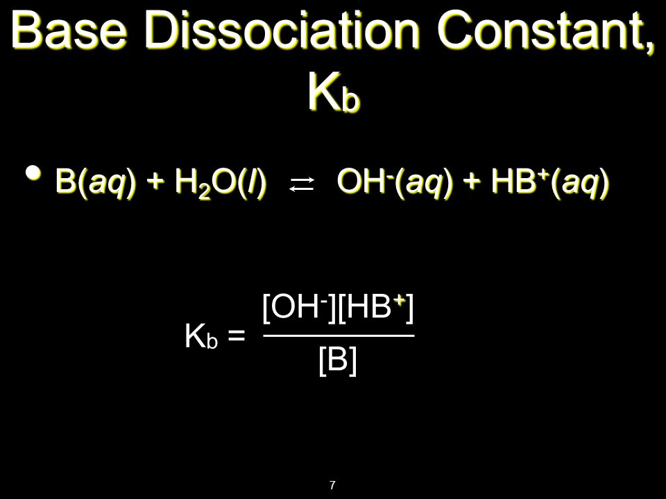 Base Dissociation Constant, Kb