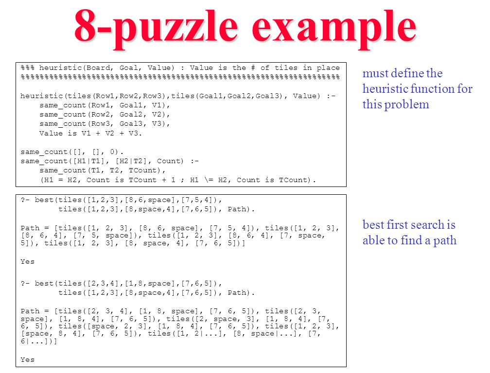 8-puzzle example must define the heuristic function for this problem