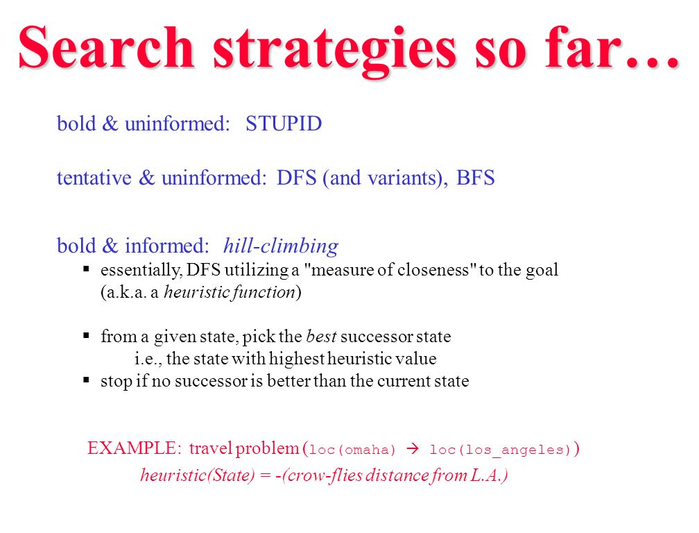 Search strategies so far…