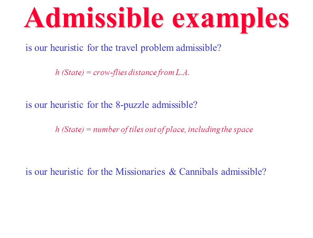 Admissible examples is our heuristic for the travel problem admissible h (State) = crow-flies distance from L.A.