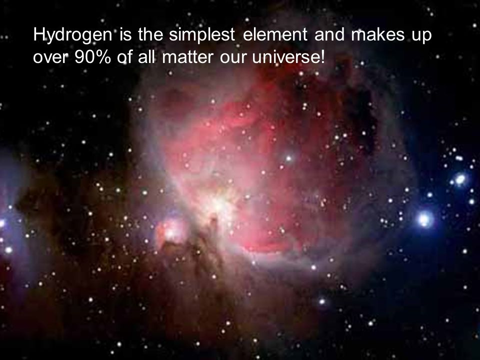 Hydrogen is the simplest element and makes up over 90% of all matter our universe!