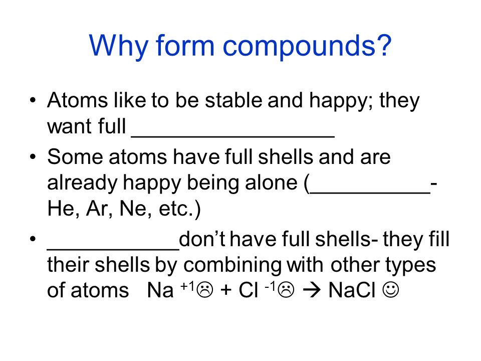 Why form compounds Atoms like to be stable and happy; they want full _________________.