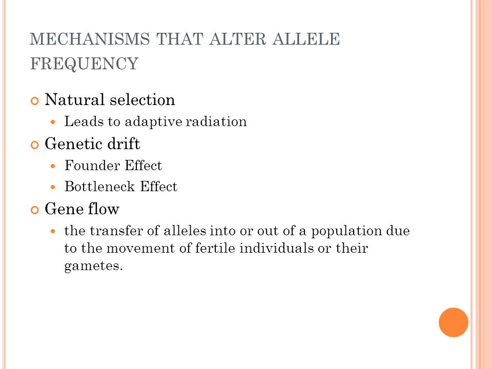 mechanisms that alter allele frequency