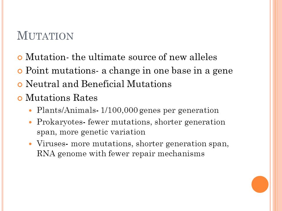 Mutation Mutation- the ultimate source of new alleles