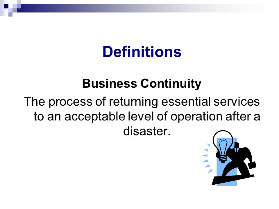 Definitions Business Continuity