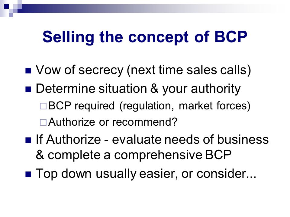 Selling the concept of BCP