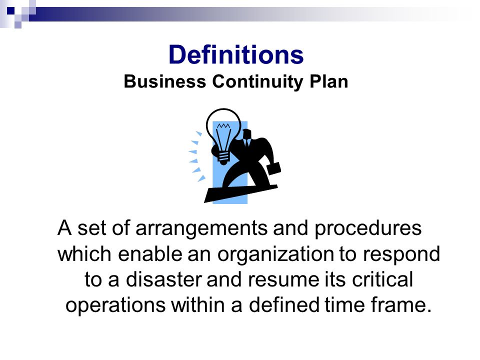 Definitions Business Continuity Plan