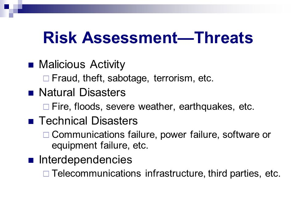 Risk Assessment—Threats