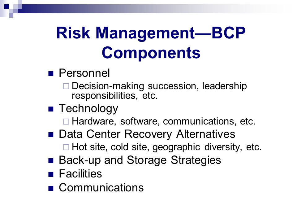 Risk Management—BCP Components