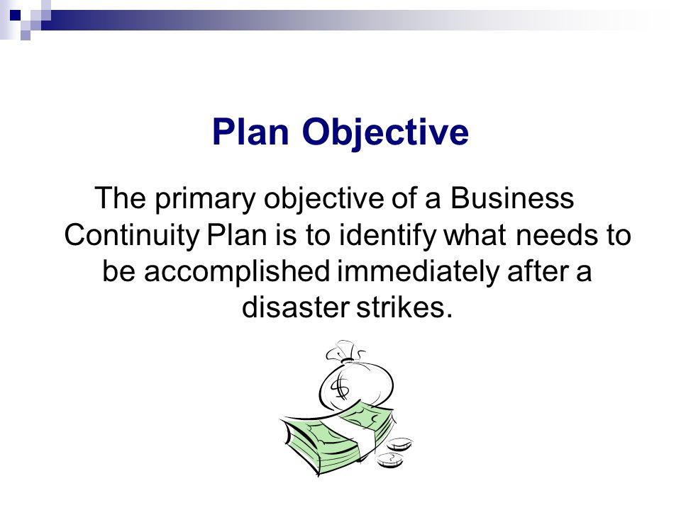 Plan Objective The primary objective of a Business Continuity Plan is to identify what needs to be accomplished immediately after a disaster strikes.
