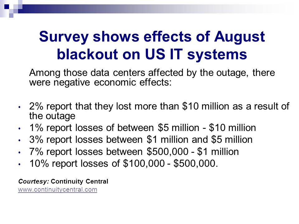 Survey shows effects of August blackout on US IT systems