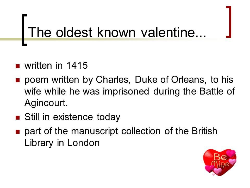 The oldest known valentine...