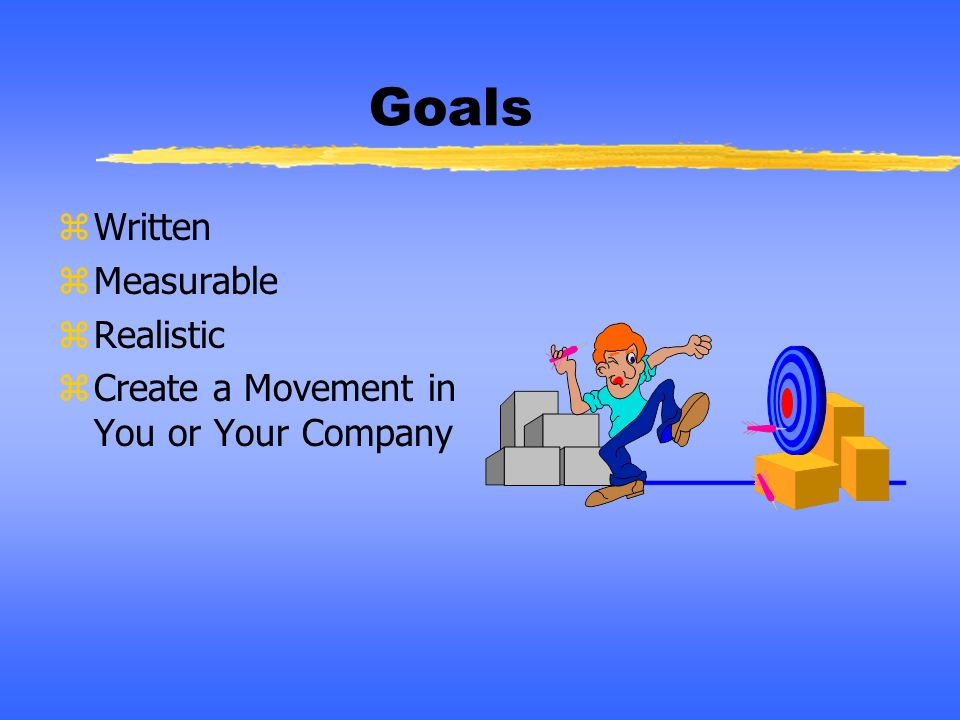 Goals Written Measurable Realistic