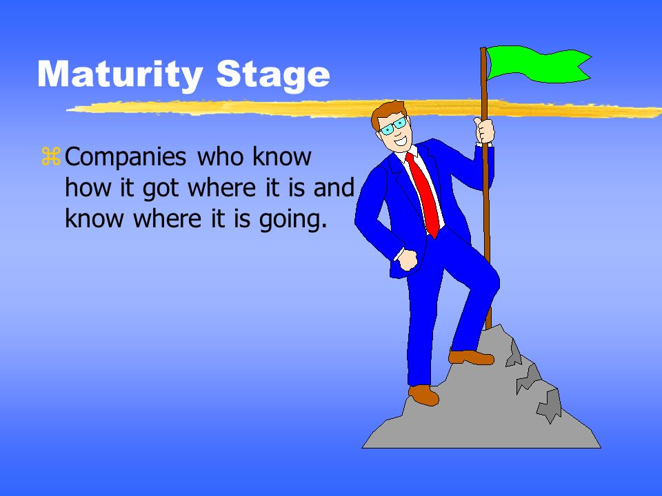Maturity Stage Companies who know how it got where it is and know where it is going. Notes