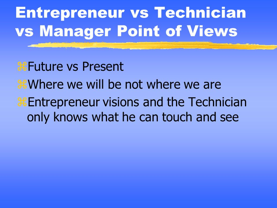 Entrepreneur vs Technician vs Manager Point of Views