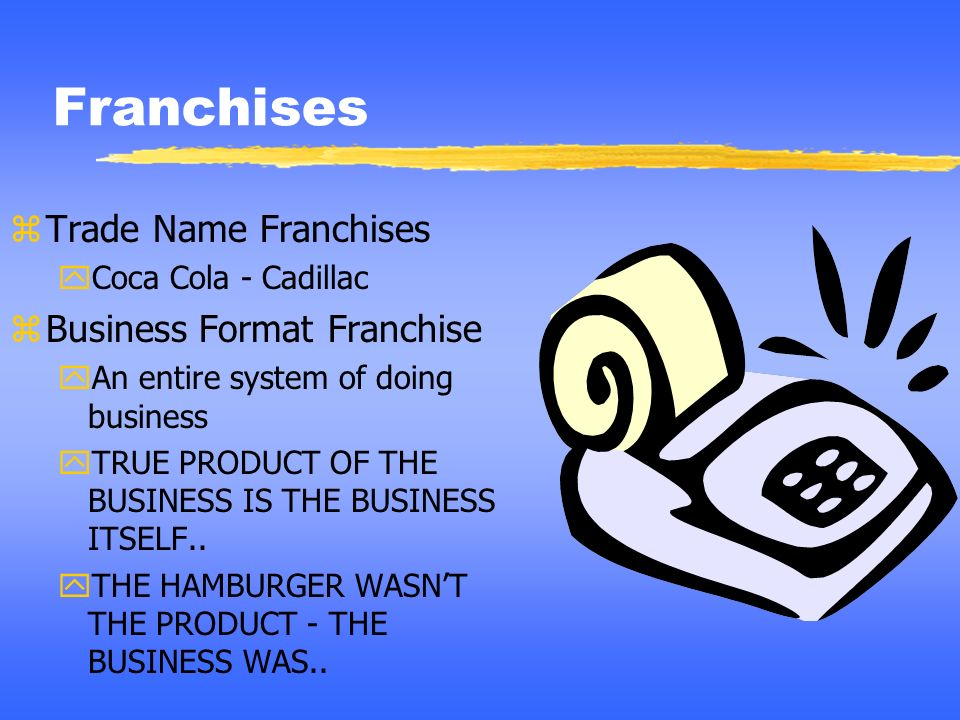 Franchises Trade Name Franchises Business Format Franchise