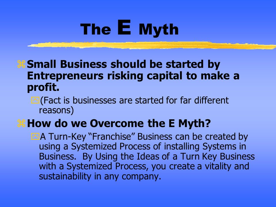 The E Myth Small Business should be started by Entrepreneurs risking capital to make a profit.