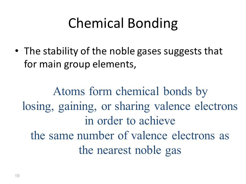 Chemical Bonding Atoms form chemical bonds by