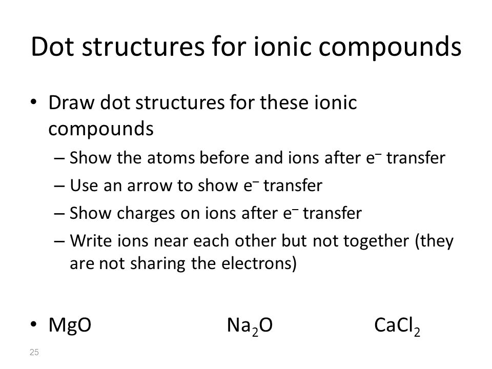 Dot structures for ionic compounds