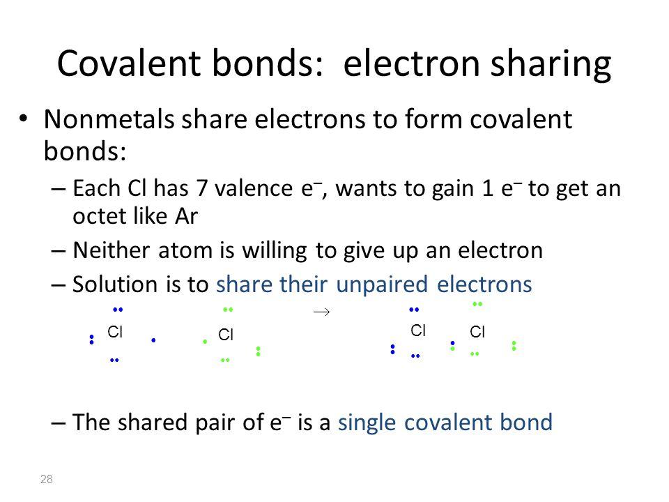 Covalent bonds: electron sharing