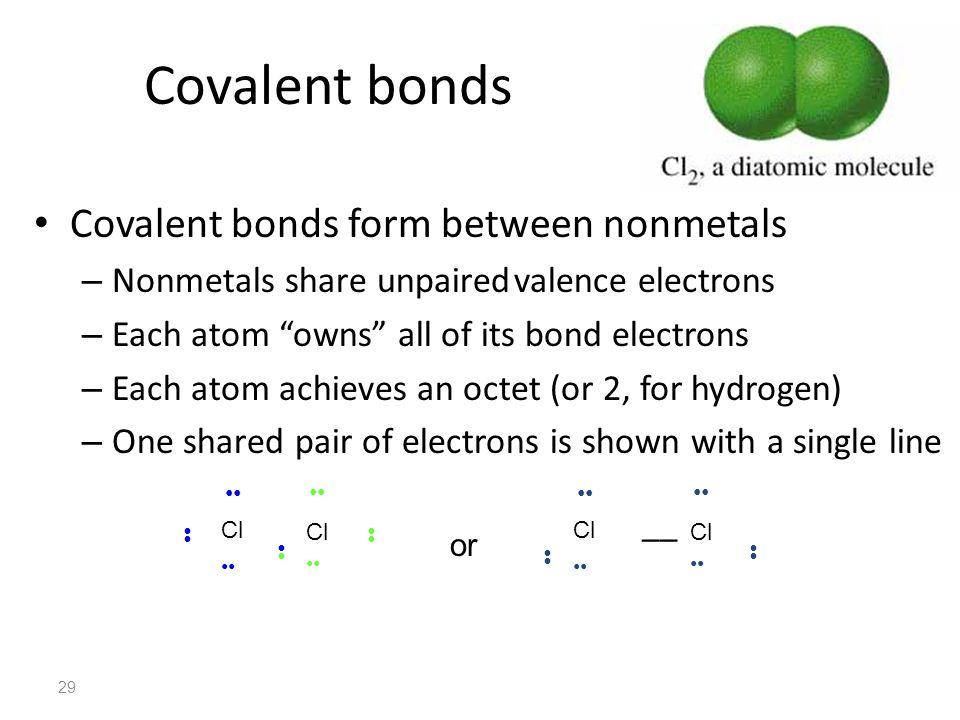 Covalent bonds Covalent bonds form between nonmetals