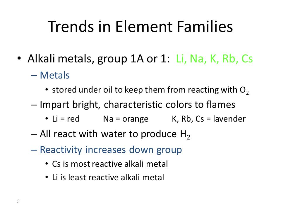 Trends in Element Families