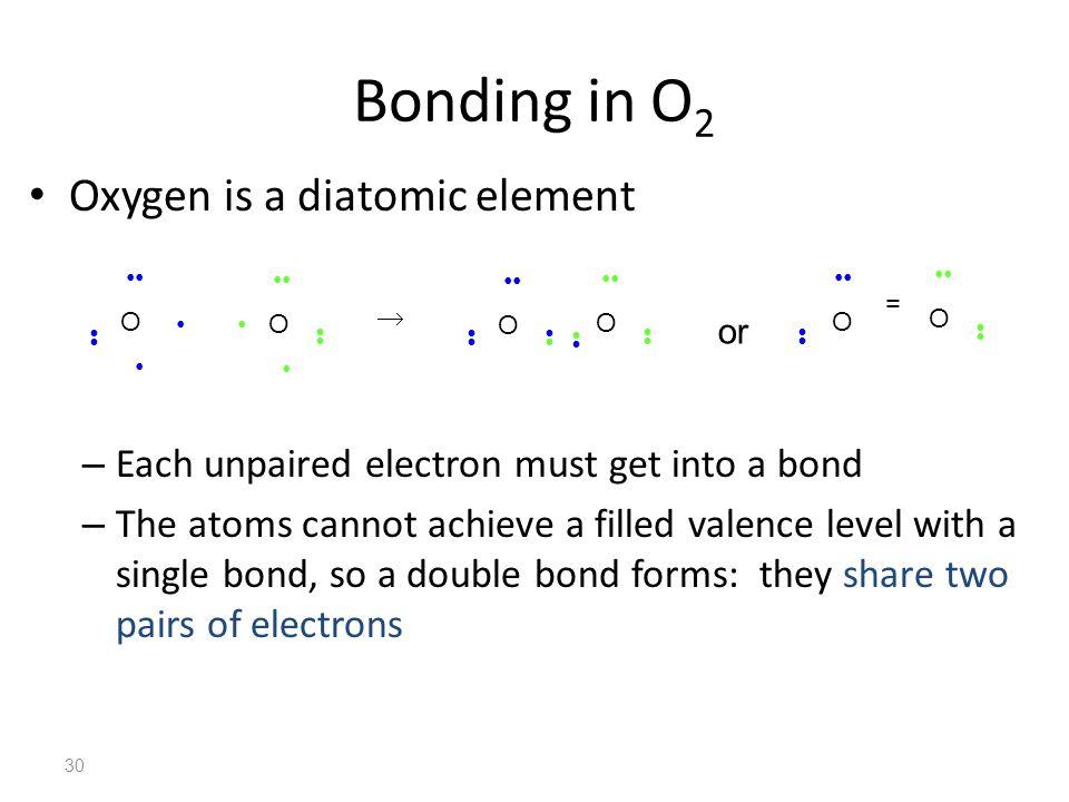 Bonding in O2 Oxygen is a diatomic element