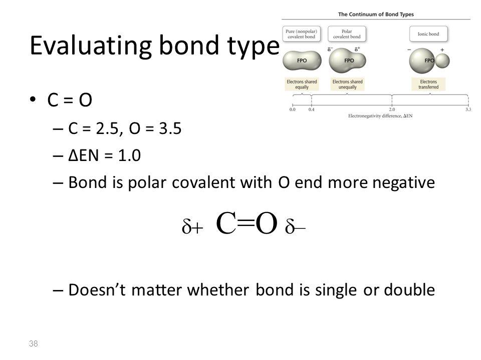 Evaluating bond type C = O C=O – C = 2.5, O = 3.5 ∆EN = 1.0
