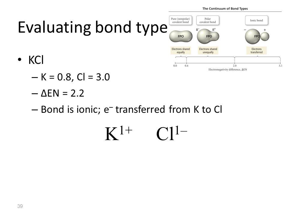 K1+ Cl1– Evaluating bond type KCl K = 0.8, Cl = 3.0 ∆EN = 2.2