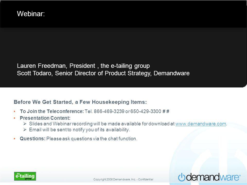 Webinar: Lauren Freedman, President , the e-tailing group