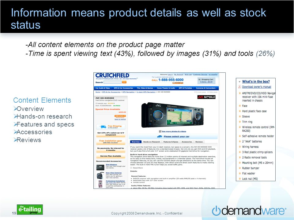 Information means product details as well as stock status