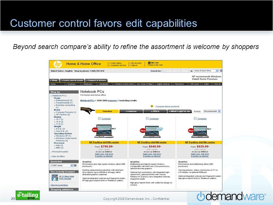 Customer control favors edit capabilities