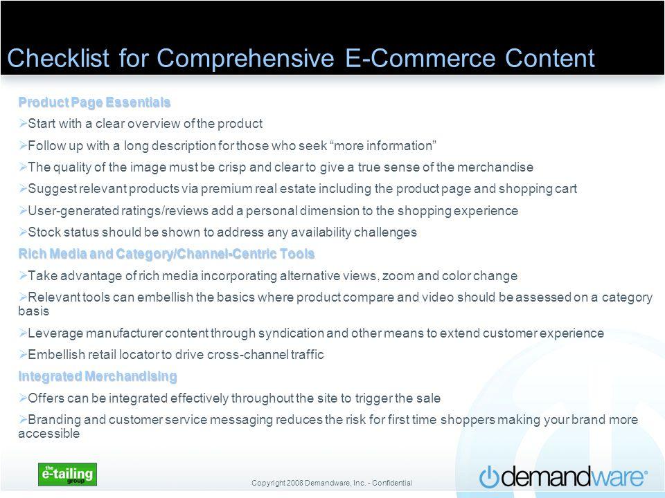Checklist for Comprehensive E-Commerce Content