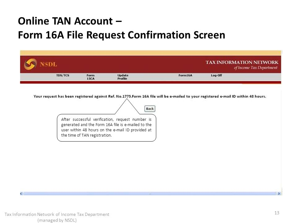 Online TAN Account – Form 16A File Request Confirmation Screen