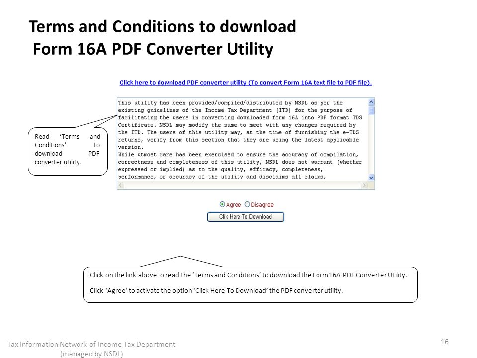 Terms and Conditions to download Form 16A PDF Converter Utility
