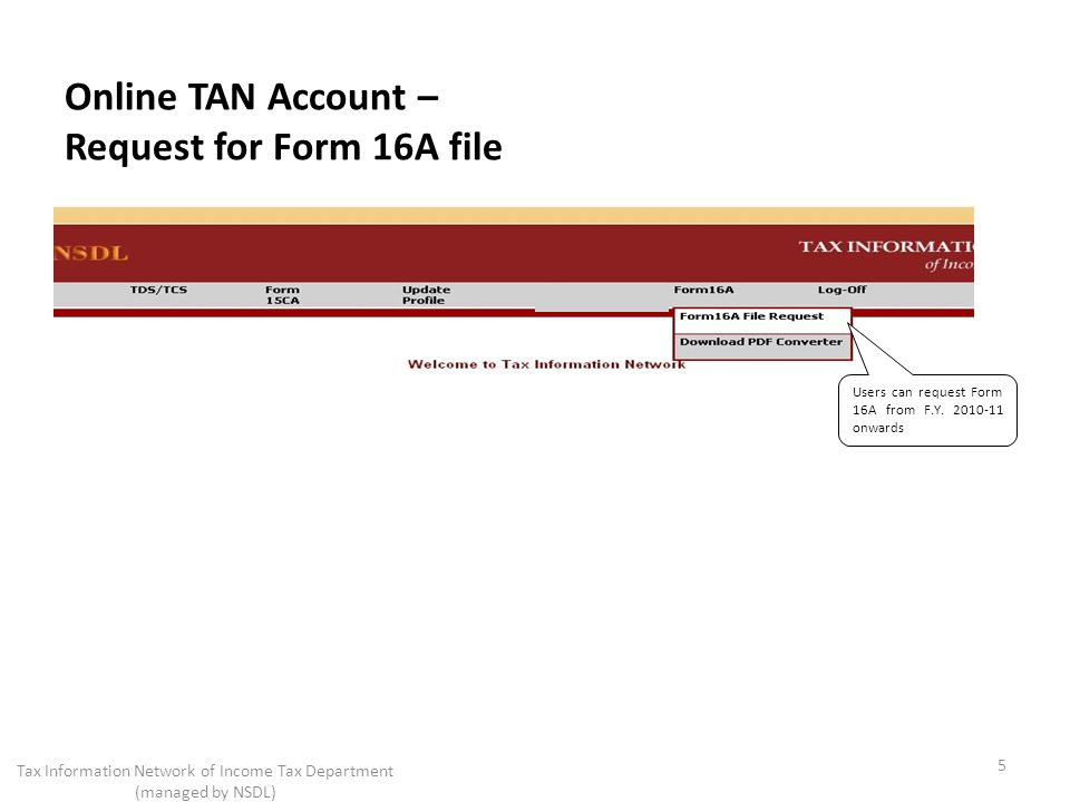 Online TAN Account – Request for Form 16A file