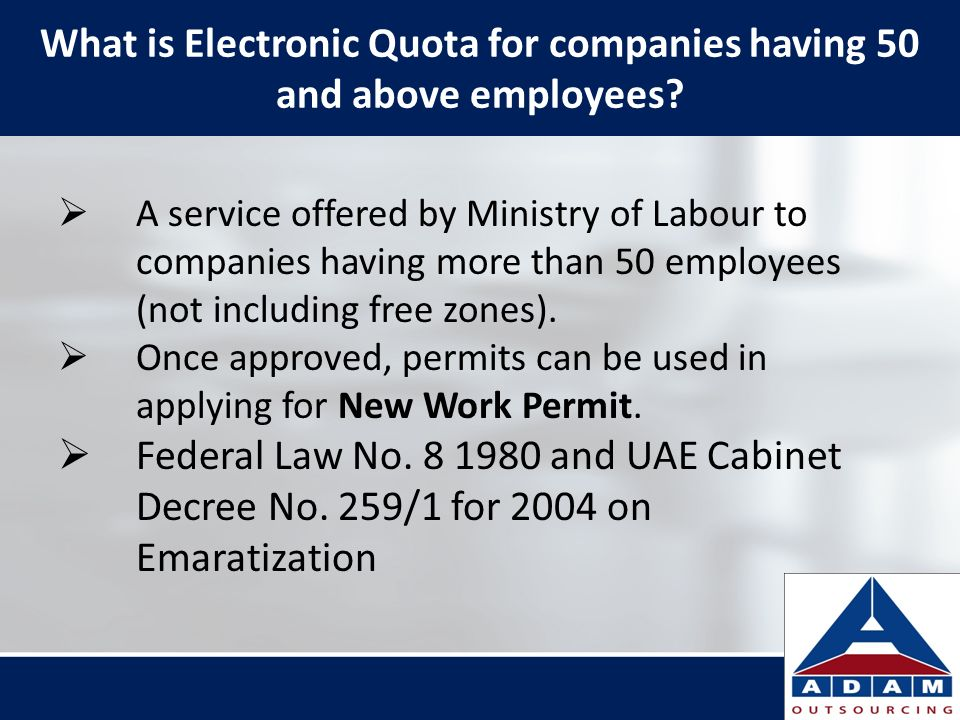What is Electronic Quota for companies having 50 and above employees