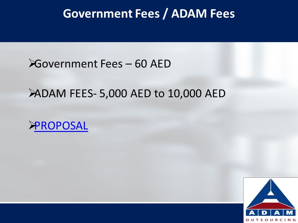 Government Fees / ADAM Fees